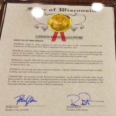 Legislative citation plaque photo